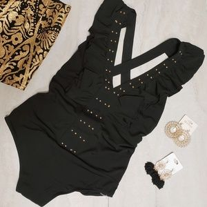 Top Chic Black Ruffle Bodysuit